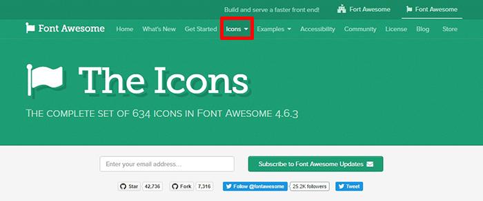 FontAwsomeでIconsをクリック